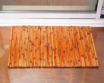 Vintage Bamboo Floor Mat Indoor Outdoor Boho Decor