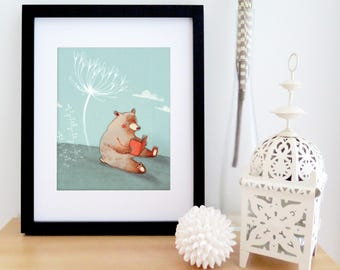 Illustrated READING BEAR poster | Children illustration | illustration art for framing | 8'' X 10''