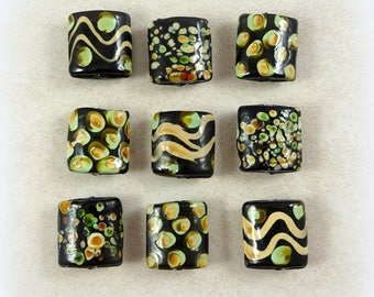 Lampwork Beads - Black Lampwork Beads, Rectangle Pillow Lampwork, Black, Green and Beige Patterned Lampwork - 16mm - Qty. 3 Beads