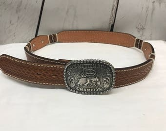 Tony lama brown hand tooled leather belt with justin buckle