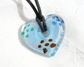turquoise blue glass heart necklace