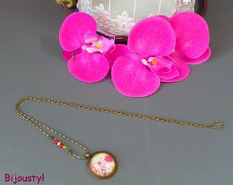 Long necklace * spring * Cabochon 25 mm * flowers