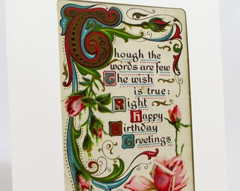 Happy Birthday Greetings Card With Elegant and Charming Antique Postcard from the Edwardian Era