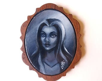 Lily Munster -  Miniature Acrylic Painting by Amy E Owers