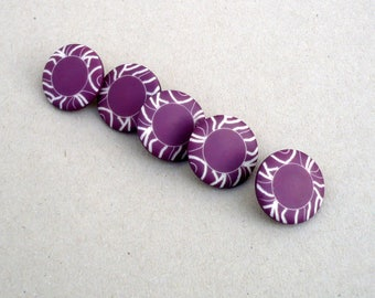 Purple Buttons , 18 mm  Buttons  , Magenta And White Buttons ,CostaSul , Buttons  , Sewing And Needlecraft Supplies