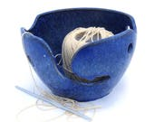Ceramic Yarn Bowl, Blue Crystalline Glazed, Knitting Bowl, Crochet Bowl, Gift for Knitter