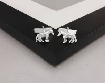 Zebra Cufflinks in Sterling Silver.