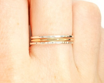 Sterling Silver and 14K Yellow Gold Thin Stacking Rings- set of 3