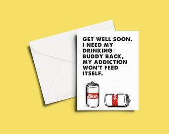 Get Well, Let's Drink Greeting Card
