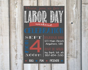 LABOR DAY INVITATIONS, Cookout Party Invites, Summer, Memorial Day, Independence Day, 4th of July, Chalkboard, Red White and Blue, Printable