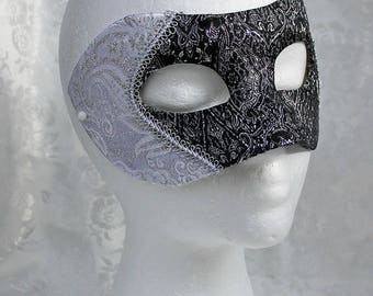 Black Silver Brocade Masquerade Mask, Black and Silver and White and Silver Metallic Brocade Mask