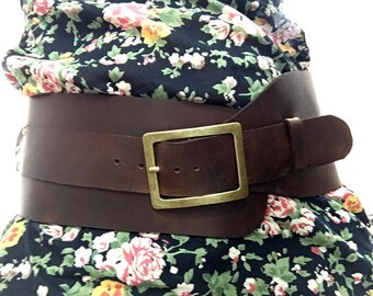 """Beautifully Handcrafted Brown Very Wide Leather Belt. Women's Wide Leather Belt. 4.7"""" inches Wide/ 12cm Wide. Original. One Of A Kind Belt."""