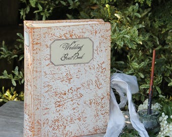 Antique white and rose gold Wedding guest book | Ethereal wedding theme |  Made To Order 8.5x6 inches