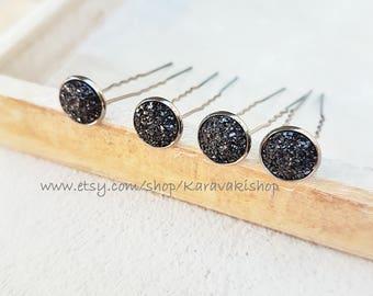 Hair pins,Black hair pins,U shape Druzy hair pins,Bridal bridesmaid hair pins,Black wedding hair pin,Wedding accessories,black jewelry,Druzy