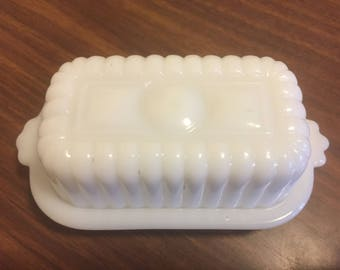Vintage Milk Glass Butter Dish 1950's 1960's Small Butter Serving Covered Dish Mid Century Retro Kitchen Farmhouse Shabby Chic Beach Cottage