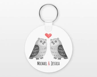 Owl Keychain, Couple Keychain Personalized Keychain, Boyfriend Keychain Girlfriend Keychain, Couple Key Chain, Animal Keychain, Owl Keyring