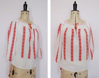 Vintage 1960s 70s hand embroidered Romanian blouse - 70s Peasant blouse - Hungarian top - Peasant top - Folk blouse - Gypsy blouse - Boho