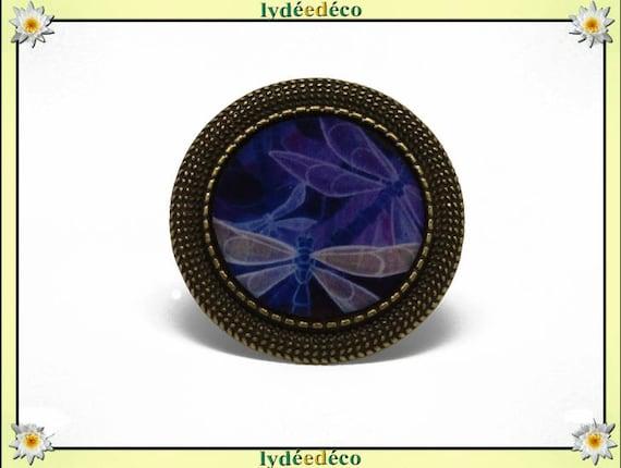Round ring blue beige purple Dragonfly vintage retro resin bronze adjustable brass charm retro 20mm
