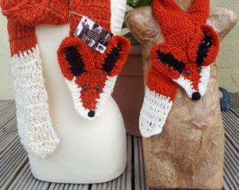 Hand made Fox scarves-Adults and Children's- pure wool and mohair mix