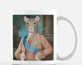 "Rat Coffee Cup, Rat Lover, Rat Lover Gift, Rat, Rat Art, ""Sir Walter Ratleigh"""