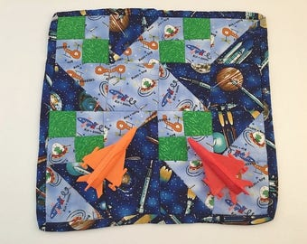 Space Mini Quilt, Spaceship Trivet, Rocket Pot Holder, Planet Mug Rug, Candle Mat, Outer Space Placemat, Planets Play Mat, Kids placemat