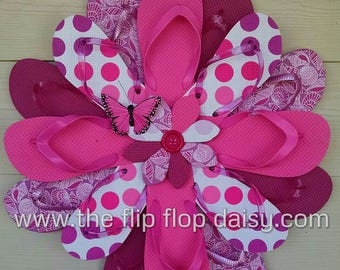 Very Pink Flip Flop Wreath Seashells & Polka Dots Beachy Coastal Door Decor Ocean Styles Unique Gift