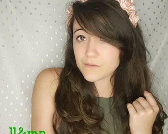 Pale pink satin rose headband, hat band, wedding, flower crown, day of the dead