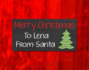 Personalized Merry Christmas From Santa Tags - Christmas Present Name Tags Christmas Gift Labels -  Chalk Tree