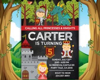 Dragon Birthday Invitation, Medieval Birthday Invitation, Knight Birthday Invitation, Princess Invite, Printable Invitation, 2 Options