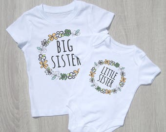 Sister Set  -Big Sister Shirt / Little Sister Onesie / New Baby Gift / Baby Gift / Baby Shower Gift / Sibling T-shirts / New Baby Photo Prop