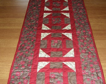 Quilted Table Runner Red Brown, Patchwork Table Runner, Red Brown Quilt, Quiltsy Handmade,  Churn Dash Table Runner,  Red Brown Table Topper