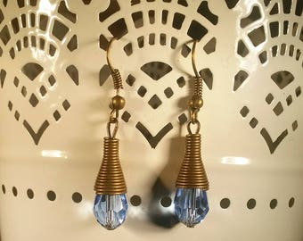 Dangle Drop Earrings, Faceted Blue Glass Bead Crystal, Antique Bronze Cone-Shaped Findings, Bronze Ear Wires