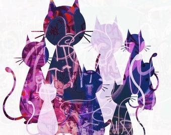 Purple cats sticker