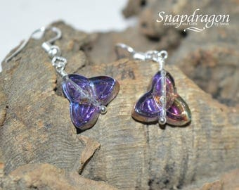 Celtic knot Triquestra, iridescent glass bead earrings