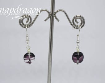 Purple glass bead drop earrings