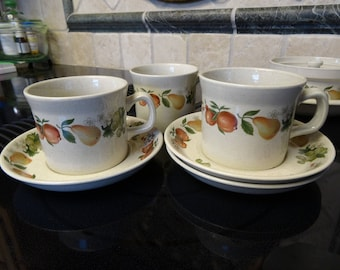 3 Wedgwood Quince cups and saucers circa 1970's in good condition