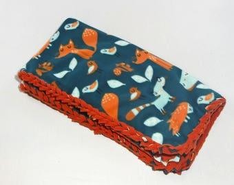 Woodland Fleece Blanket, No Sew Blanket, No Sew Fleece Kit, Baby Blanket, Fox, Squirrel, Bird, Orange, Braided, Personalize, Embroider