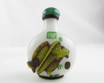 Carved Glass Snuff Bottle - Deep Green, Maroon, Pea Green on White - Celadon Stopper - Carved Glass Snuff Bottle - Cork Plug w Bone Spoon