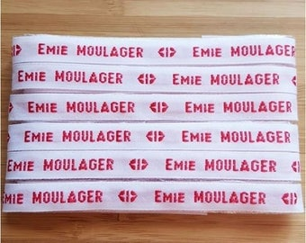 Custom woven name labels set sewing white text background Red