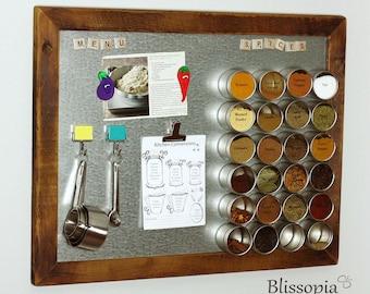 Magnetic Spice Rack, Framed Magnetic Board, Kitchen Organizer