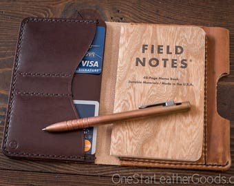 "Field Notes wallet with pen sleeve ""Park Sloper Senior"" Horween Dublin leather - chestnut / brown"