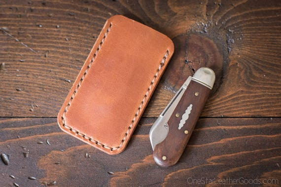 Pocket knife slip case, Size Extra Small, fits GEC pattern #25 and others - chestnut