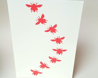 "Card ""bees walking"" with its envelope"