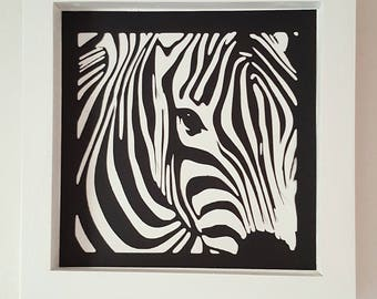 "The white ""Zebra"" wooden frame 25x25cm"