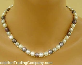 14k Yellow Gold Bead & 9mm Gray, White, Cream Button Pearl Necklace 19 Inches