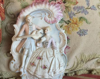 French Country Victorian Couple  Bisque Plaque