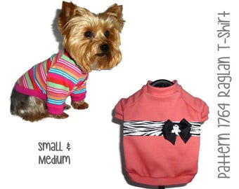 Dog Tee Shirt Pattern 1764 * Small & Medium * Dog Clothes Sewing Pattern * Dog T Shirt * Dog Shirt Pattern * Dog Apparel * Dog Clothing