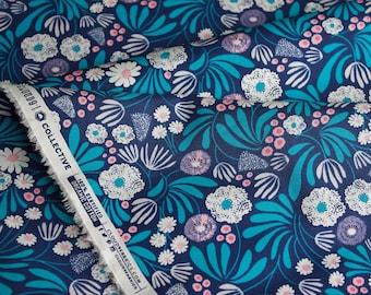 "Designed by ELIZABETH OLWEN - 'Blooming Buds' in Navy. Cloud 9 Fabrics. Organic cotton poplin. Half Metre/19.5"""