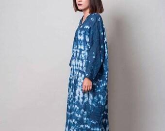 ON SALE 30% Blue Linen Dress, Shibori indigo dress, one size loose dress, hand dyed dress, shibori clothing, summer dress