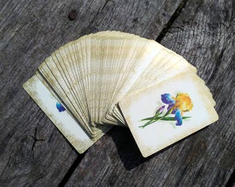 "Vintage Playing Cards with Blue, Yellow and Purple Iris 54 Cards Including 2 Jokers Bridge Size 3.5"" x 2.25"" GORGEOUS Vintage Deck of Cards"